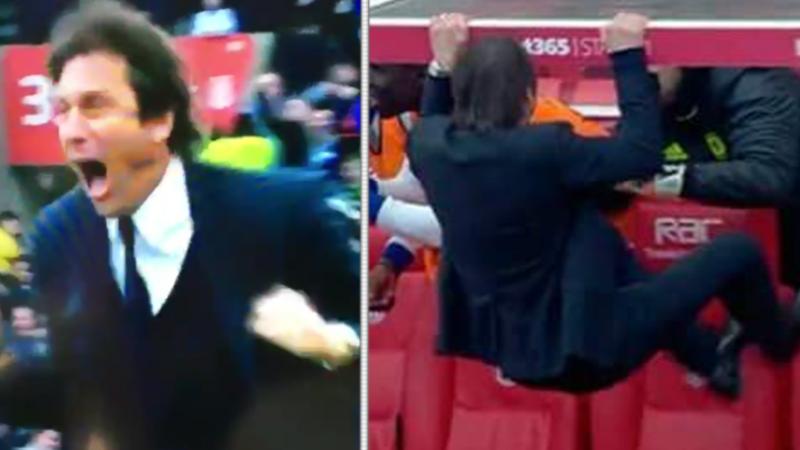 Onwaarschijnlijk! Zo viert Conte het late winnende doelpunt van Chelsea (Video)