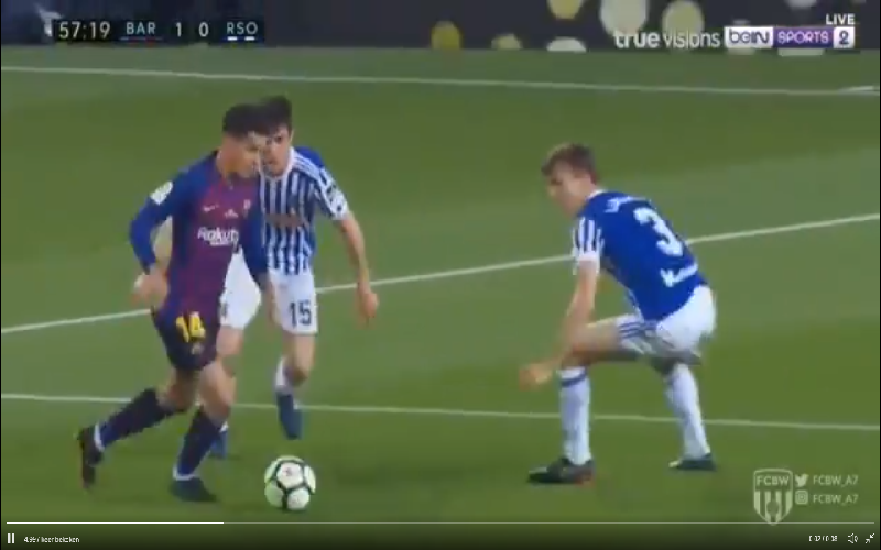 Coutinho doet dit in afscheidsmatch Iniesta, prachtig! (Video)