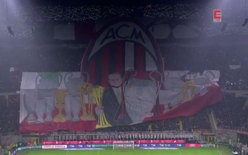 AC Milan-fans nemen op prachtige wijze afscheid van voorzitter Berlusconi (Video)