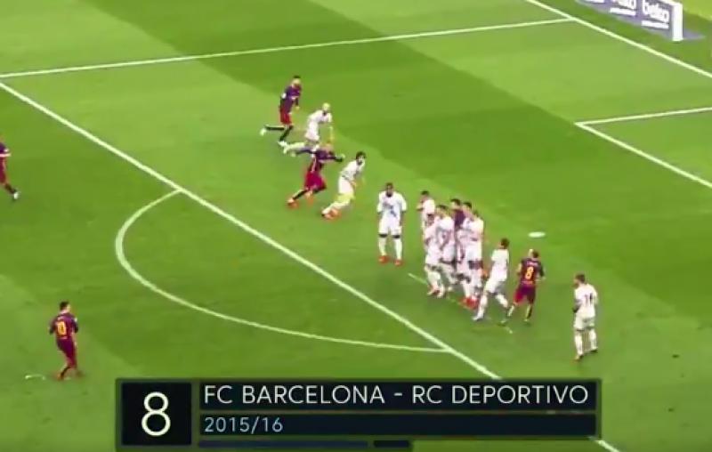 Dit zijn de 10 beste vrijschoppen van Messi (Video)
