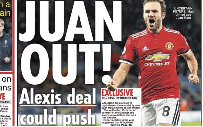 Brits tabloid pakt uit: 'Juan Mata plots weg bij Man United'