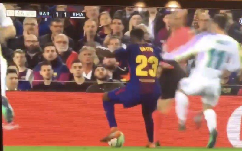 Bale ontsnapt aan rood na deze verschrikkelijke overtreding op Umtiti (Video)