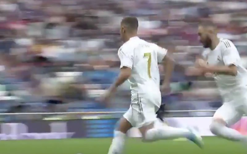 Hazard maakt officiële debuut voor Real (en scoort bijna) (VIDEO)