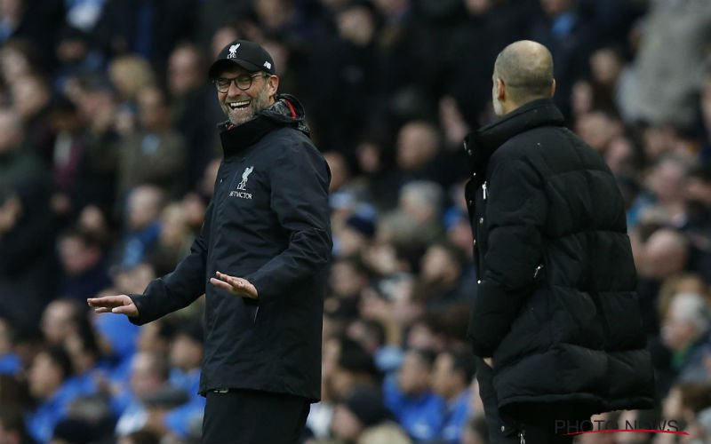 En dan doet Guardiola dit bij Jürgen Klopp tijdens Man City - Liverpool (Video)