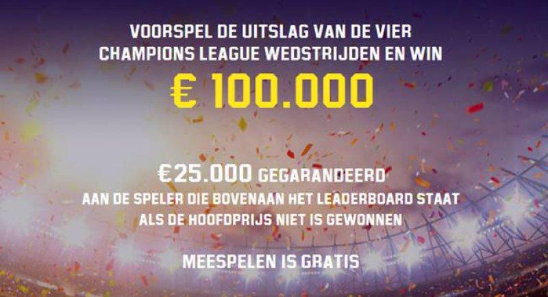 Voorspel de CL-wedstrijden correct en win 100.000 euro!
