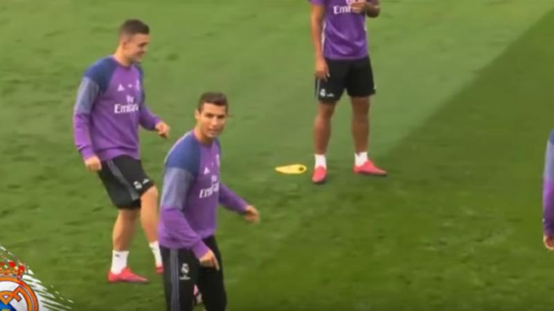 Ronaldo wordt razend na panna op training